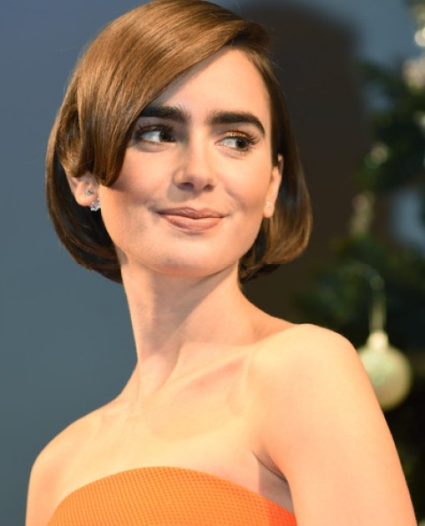 Lily Collins Pretty Brown Bob Hairstyle