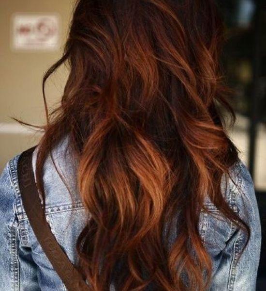 long wavy hair with dark highlights