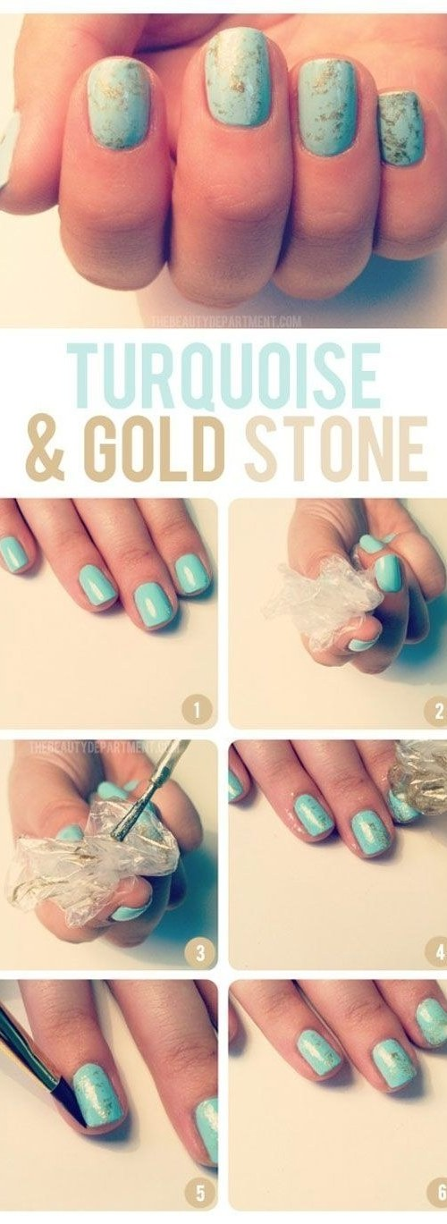 turquoise and gold stone nails