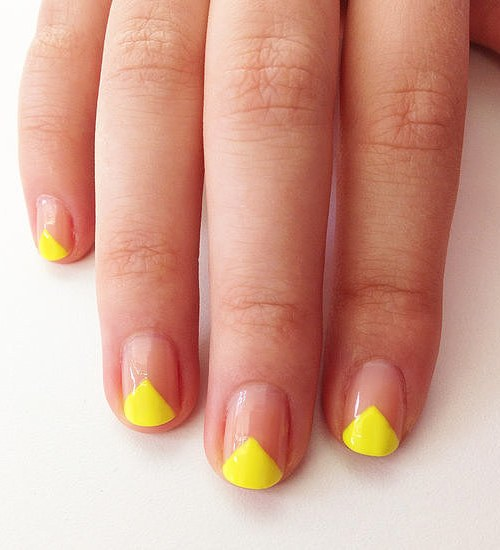 bright triangle nail design
