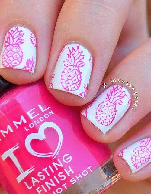 Pretty Pineapple Nail Design
