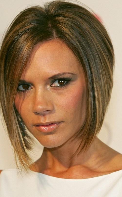 Victoria Beckham Asymmetrical Bob Haircut for Short Hair