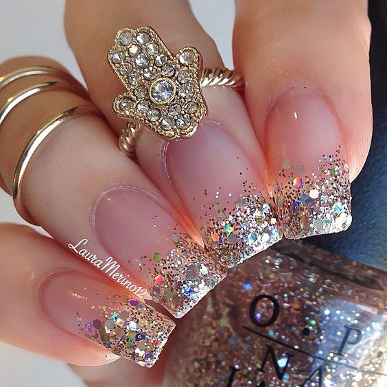 4. Classic French Manicure With Glitter Tips