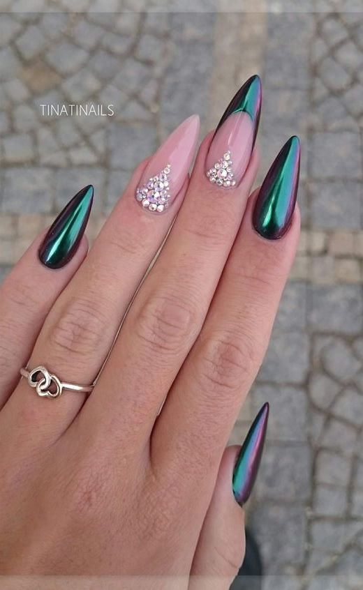 7.  Rhinestone Nails- Tips and Cuticle Nail Art