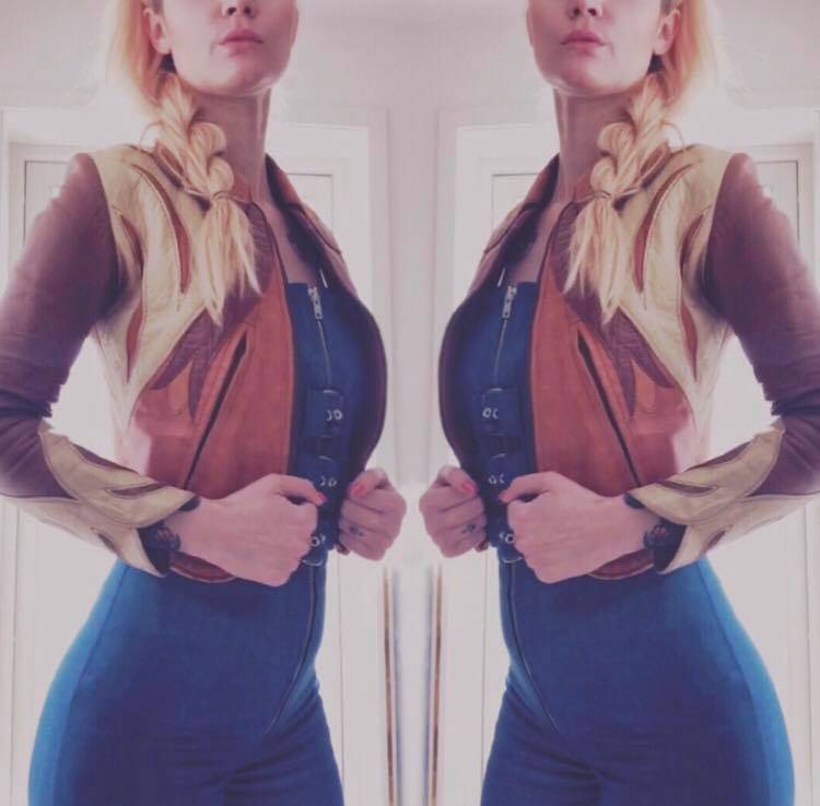 marion in her fave vintage leather jacket