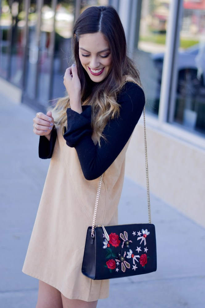 suede dress, bell sleeve turtleneck