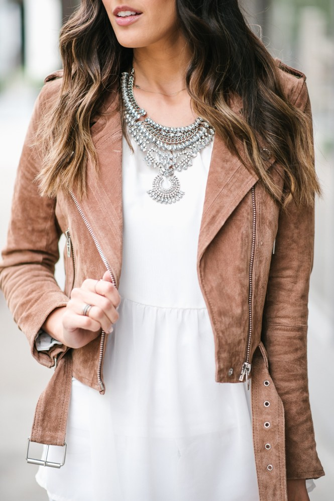 style the girl white sheer top and suede moto jacket
