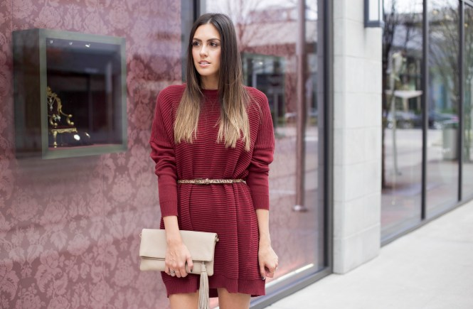 Style The Girl Wine Sweater Dress