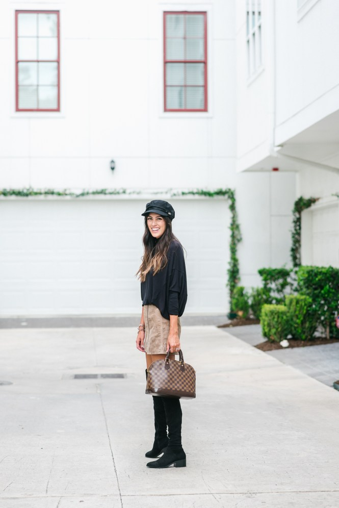 Style The Girl Suede Skirt, Over The Knee Boots, Oversized Turtleneck for Fall Style