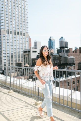 Style The Girl Off The Shoulder Lace Top and Ripped Boyfriend Jeans NYFW