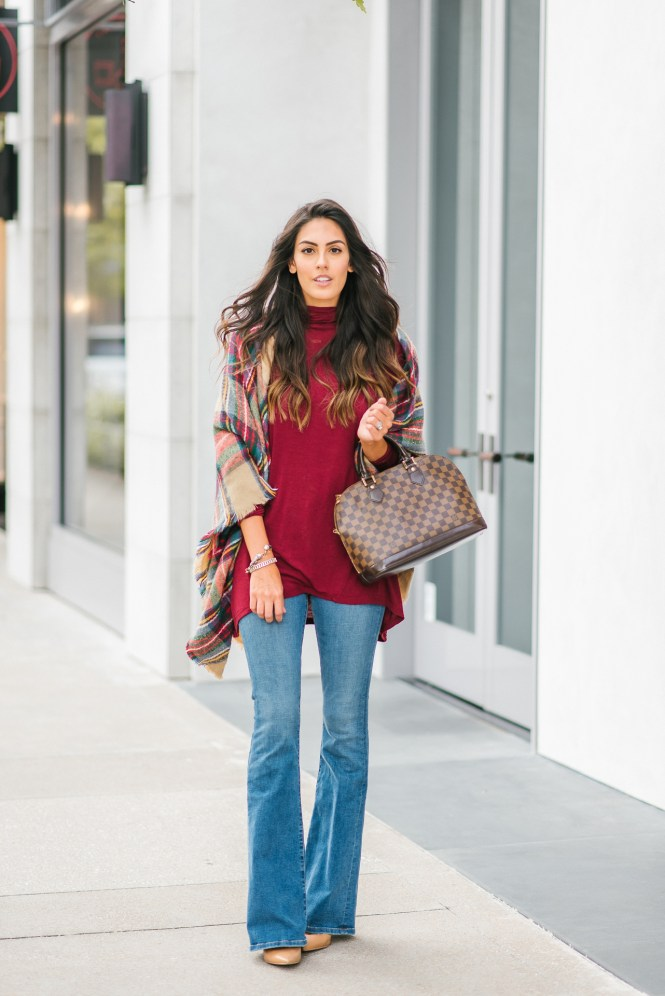 Style The Girl Burgundy Turtleneck and Flare Jeans for Fall