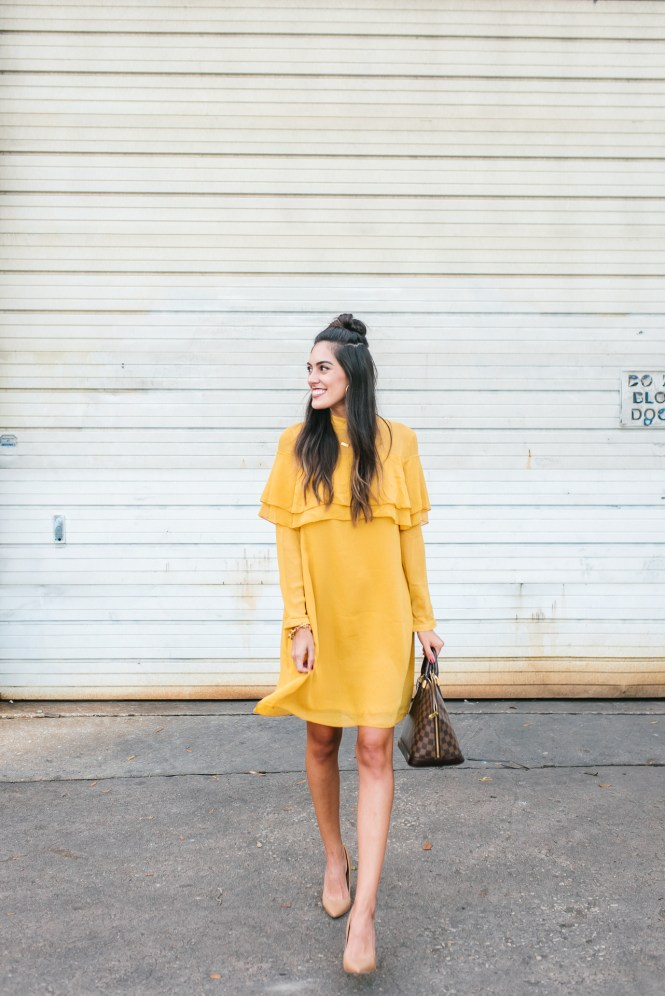 Style The Girl Flowy Mustard Dress