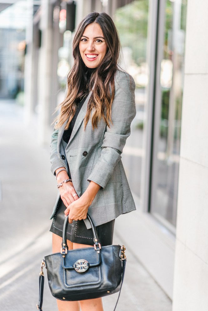 Style The Girl Pleather Skirt, Checkered Jacket and Booties for Fal