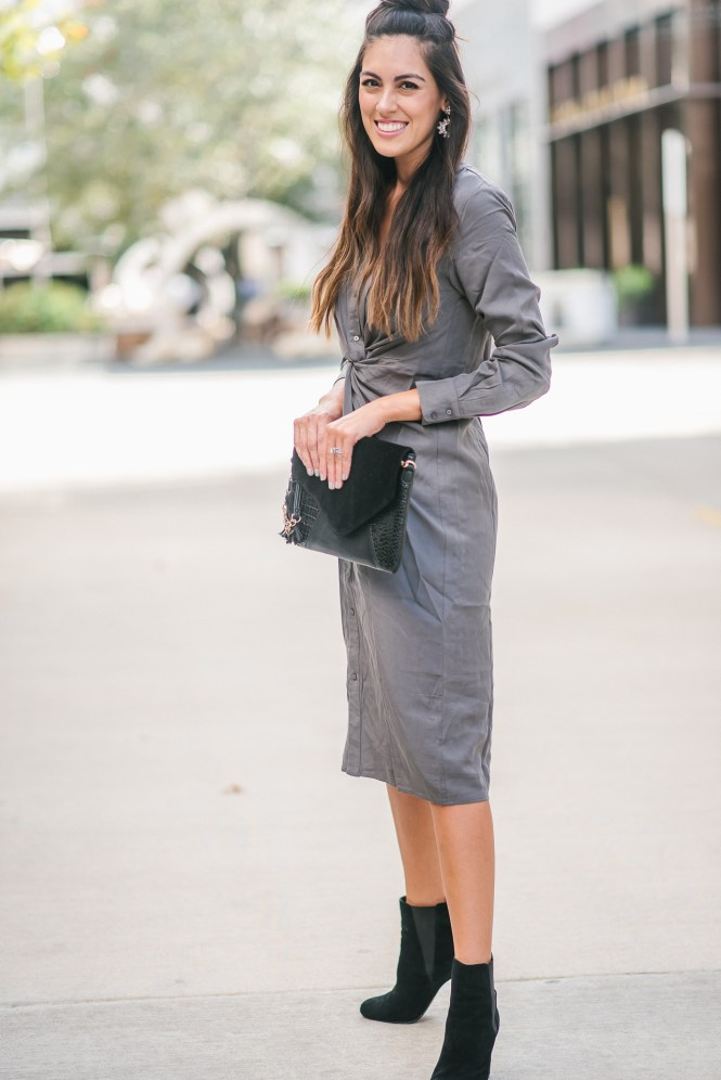 Style The Girl Work Wear Look with a Tie Front Midi Dress