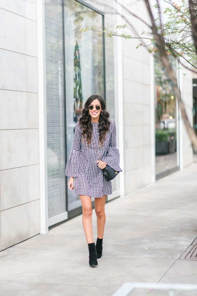 Style The Girl Gingham Bell Sleeve Dress