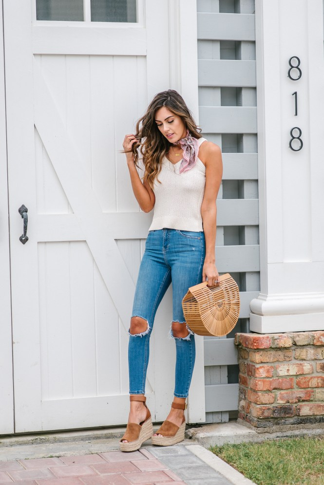 Style The Girl Sleeveless Sweater, Bandana, Ripped High waisted jeans and wedges, spring style