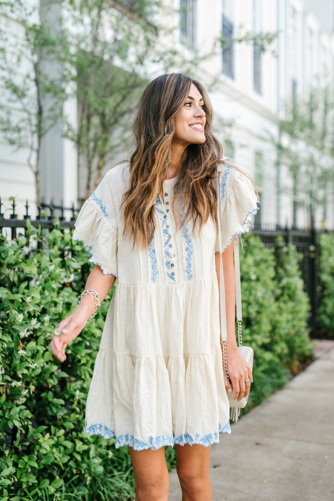 Style The Girl White and Blue Embroidered Dress
