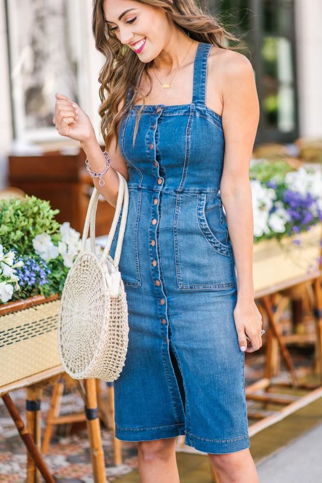 Denim Button Down Midi Dress Floral Bandana straw bag spring style