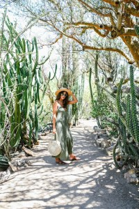 Asos Green Button Down Maxi Dress in a Botanical Garden Straw Hat