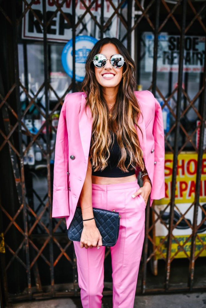 Asos Pink Pant Suit Black Tube Top for NYFW