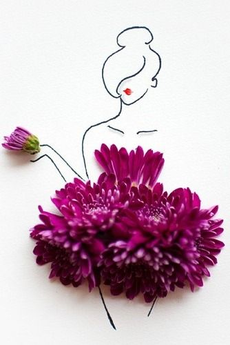 12 clever floral fashion sketch - 30+ Cool Fashion Sketches