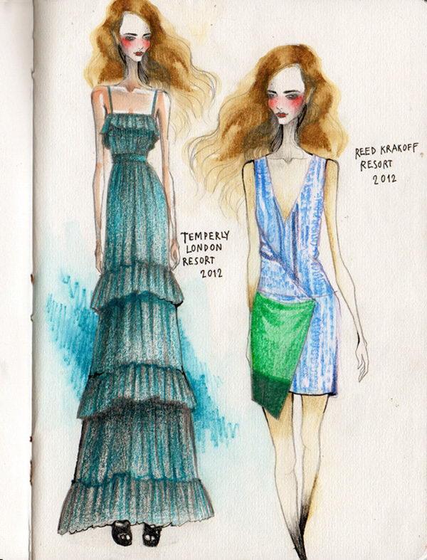 34 fashion sketches by wa tinee paleebut - 30+ Cool Fashion Sketches