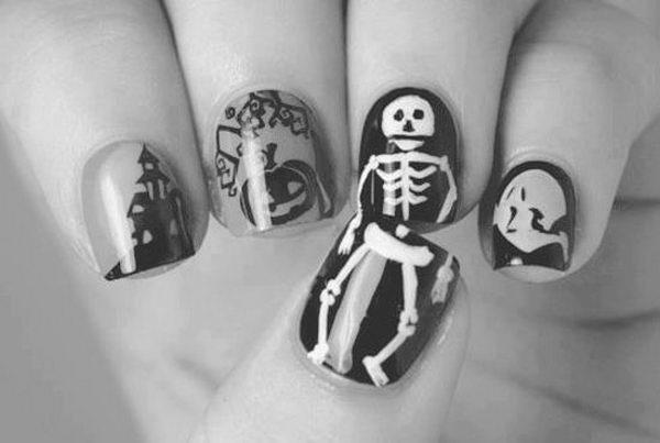 12 skeleton halloween nail art - 30 Cool Halloween Nail Art Ideas