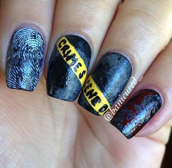 15 caution tape crime scene nails - 30 Cool Halloween Nail Art Ideas