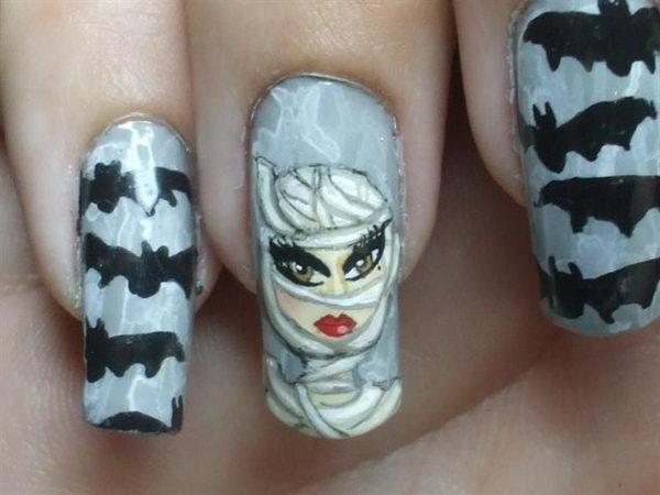 27 bats mummy - 30 Cool Halloween Nail Art Ideas