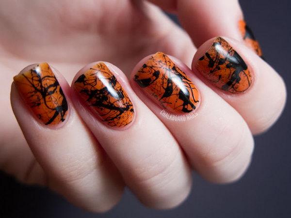 5 spooky splatter nails - 30 Cool Halloween Nail Art Ideas