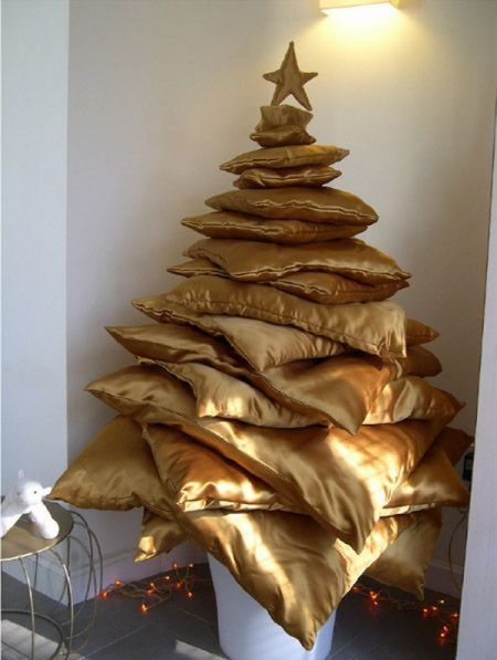 Alternative Christmas Tree Ideas Non Traditional Trees Pillows Gold