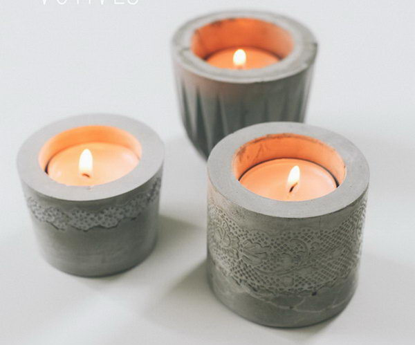 10 diy laced cement candle holder - 20 Cool DIY Concrete Project Ideas