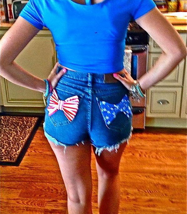 19 bows decorated shorts - 20 Cool DIY Shorts Ideas for Girls