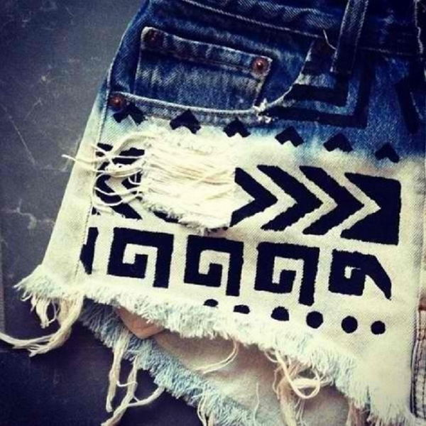 5 tribal print on shorts - 20 Cool DIY Shorts Ideas for Girls