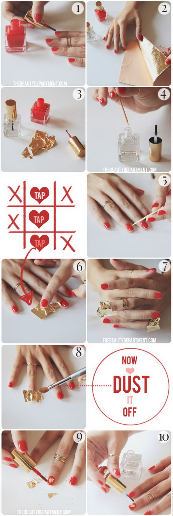 7 valentines heart nail art designs - Step By Step Heart Nail Art Designs for Valentine's Day