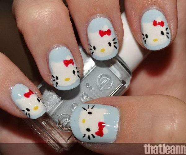 14 cute hello kitty nail art designs - Cute Hello Kitty Nail Art Designs