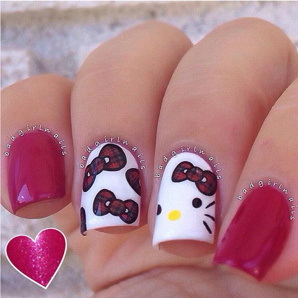 18 cute hello kitty nail art designs - Cute Hello Kitty Nail Art Designs