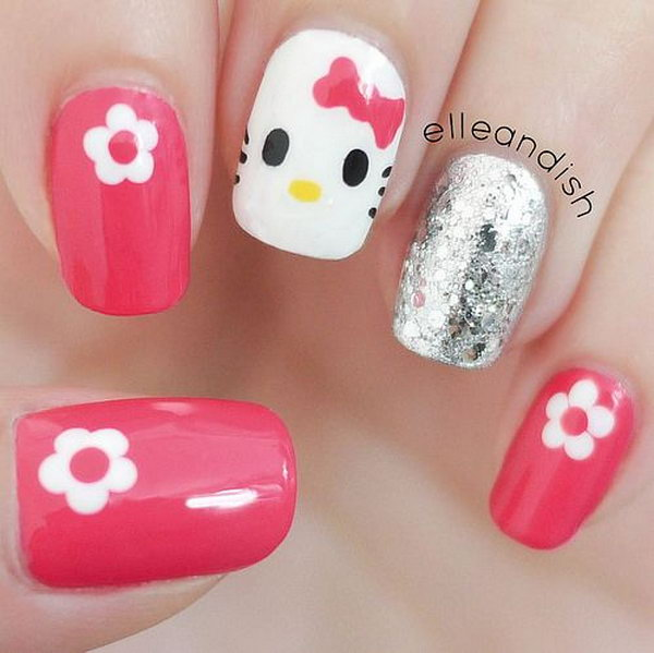 2 cute hello kitty nail art designs - Cute Hello Kitty Nail Art Designs