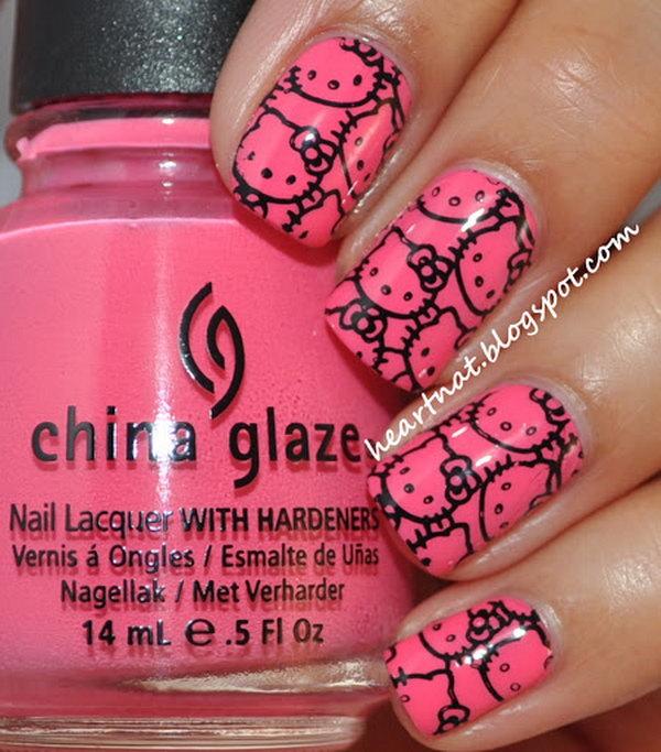 6 cute hello kitty nail art designs - Cute Hello Kitty Nail Art Designs