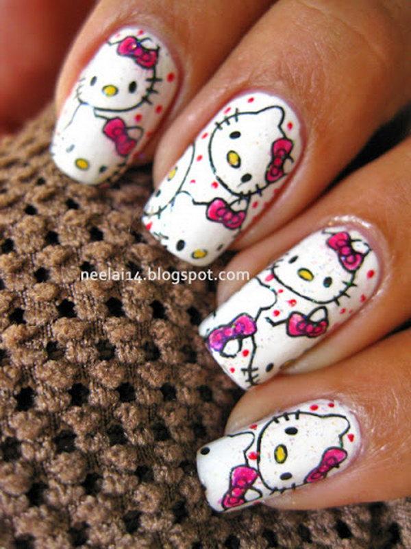 8 cute hello kitty nail art designs - Cute Hello Kitty Nail Art Designs