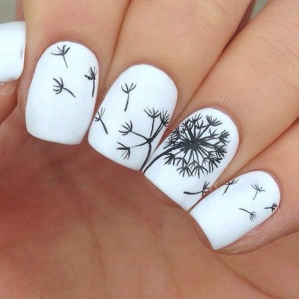 1 dandelion nail art - Cute Dandelion Nail Art Designs
