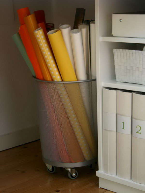 1 wrapping paper storage - Creative Wrapping Paper Storage Ideas
