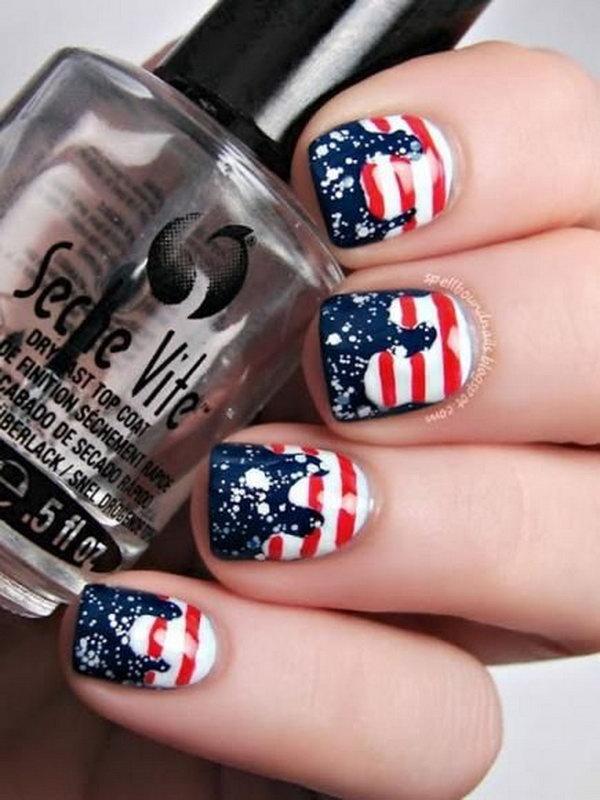 18 american flag stripes stars nails - 30+ American Flag Inspired Stripes and Stars Nail Ideas & Tutorials