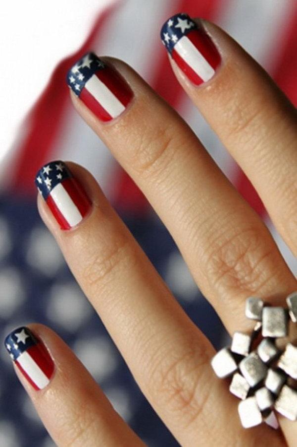 19 american flag stripes stars nails - 30+ American Flag Inspired Stripes and Stars Nail Ideas & Tutorials