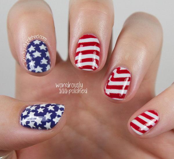 20 american flag stripes stars nails - 30+ American Flag Inspired Stripes and Stars Nail Ideas & Tutorials
