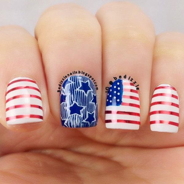 21 american flag stripes stars nails - 30+ American Flag Inspired Stripes and Stars Nail Ideas & Tutorials