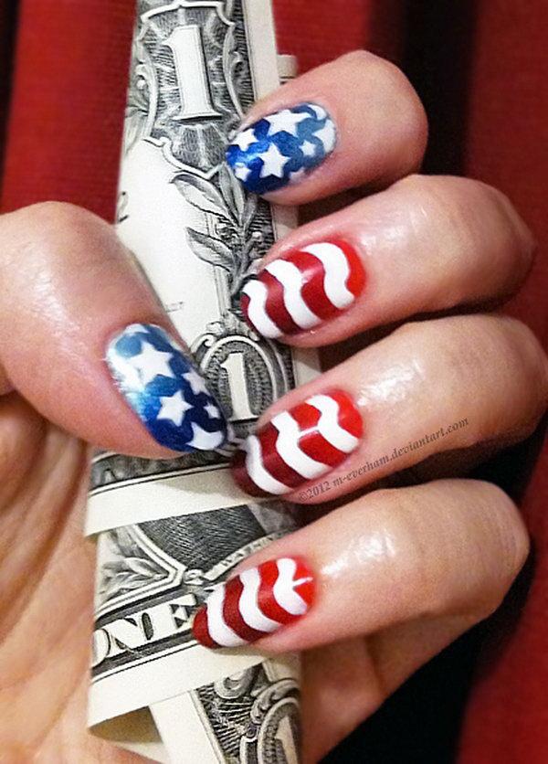 24 american flag stripes stars nails - 30+ American Flag Inspired Stripes and Stars Nail Ideas & Tutorials