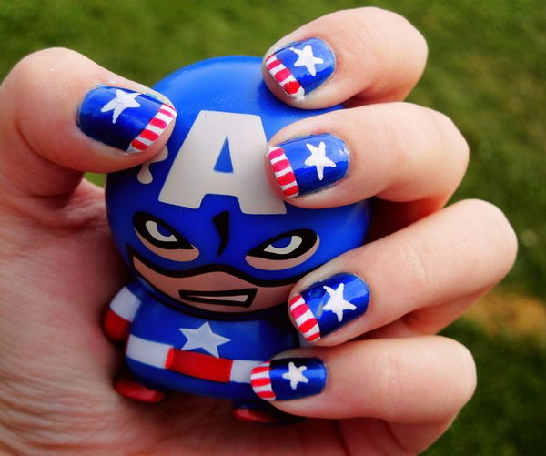 27 american flag stripes stars nails - 30+ American Flag Inspired Stripes and Stars Nail Ideas & Tutorials