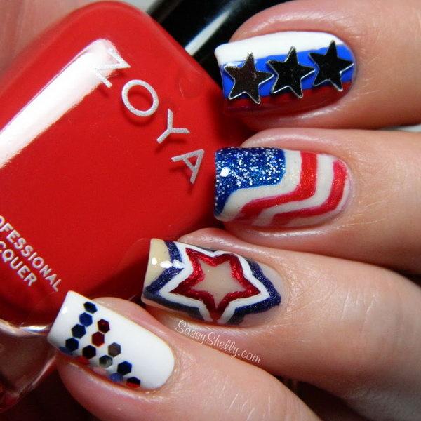 28 american flag stripes stars nails - 30+ American Flag Inspired Stripes and Stars Nail Ideas & Tutorials