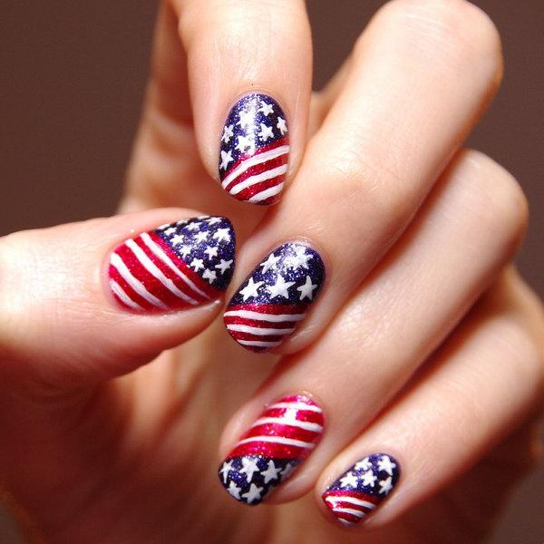 29 american flag stripes stars nails - 30+ American Flag Inspired Stripes and Stars Nail Ideas & Tutorials